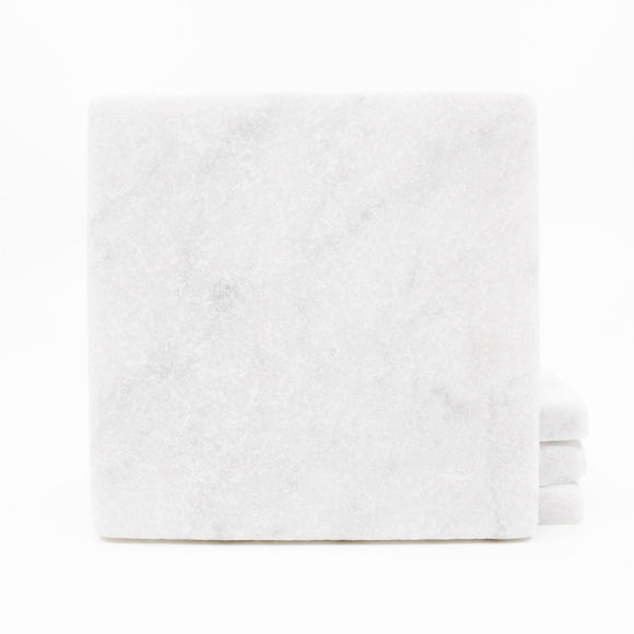 Plain Carrara Marble Drink Coasters