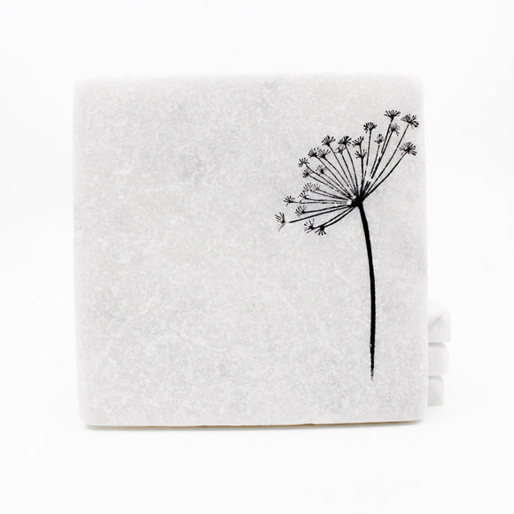 Dandelion and Wild Flowers Marble Drink Coasters