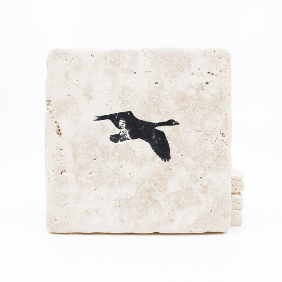 Goose Hunting Travertine Drink Coasters