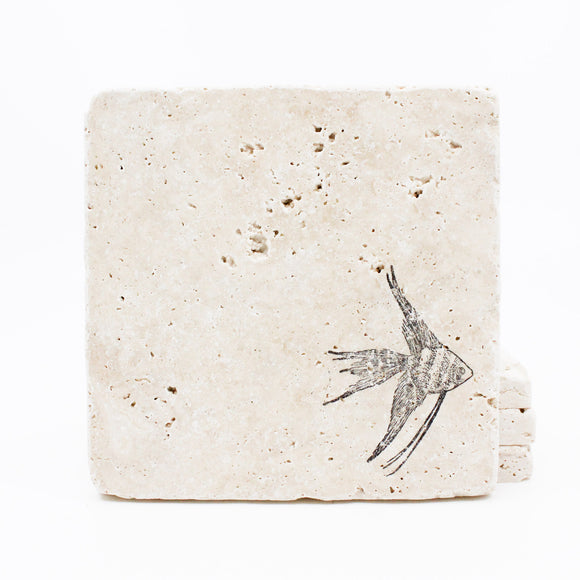 Fish Travertine Drink Coasters
