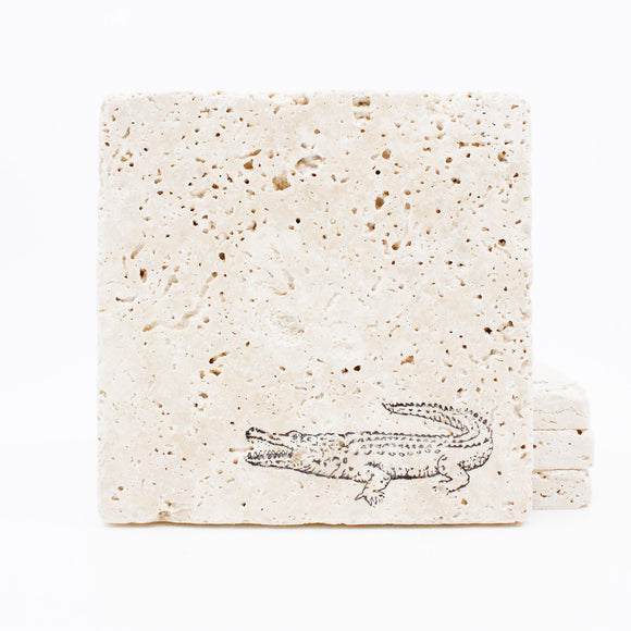Alligator Travertine Drink Coasters