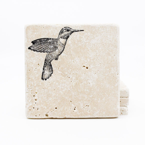 Hummingbird Travertine Drink Coasters