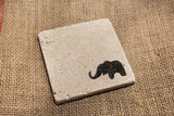 Elephant Travertine Drink Coasters