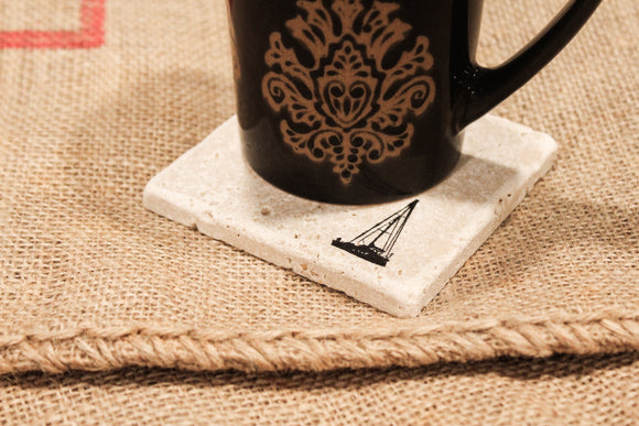 Boat Travertine Drink Coasters