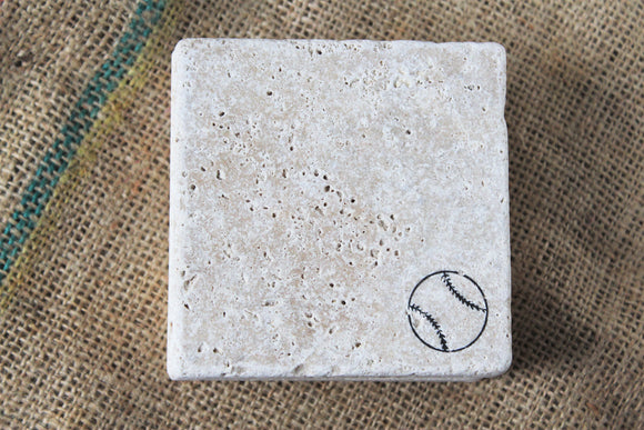 Baseball Travertine Drink Coasters