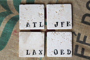 Airport Code Travertine Coasters