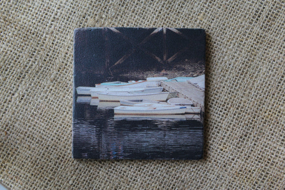 docked boats drink coaster