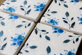 Blue floral drink coasters
