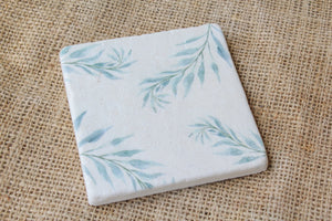 Green Ferns Floral Pattern Drink Coasters