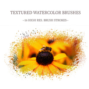 16 Textured Watercolor Brushes, Digital Watercolor Brushes, Custom Brushes for Photoshop, Rustic Layer Masks, Layer Masks for Editing