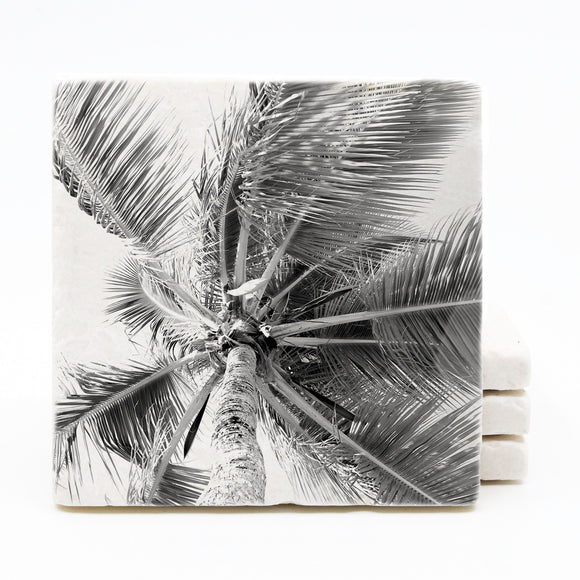 Palm Tree Marble Drink Coasters (Version 1)