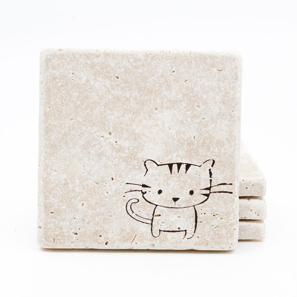 Cat Travertine Drink Coasters