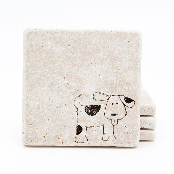 Dog Travertine Drink Coasters