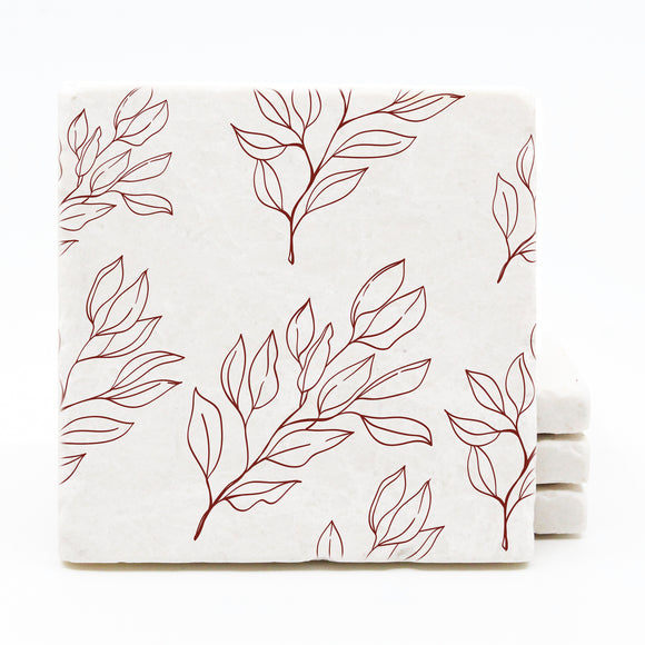 Red Floral Sketch Pattern Coasters