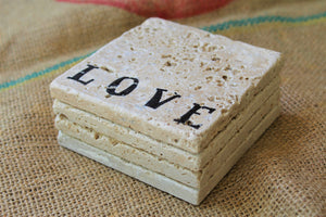 """Love"" Travertine Drink Coasters"