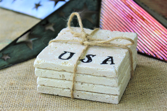 USA Travertine Drink Coasters
