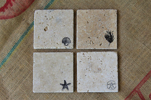 Beach Travertine Drink Coasters