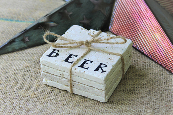 Beer Travertine Drink Coasters