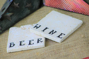 Beer and Wine Combo Travertine Drink Coasters