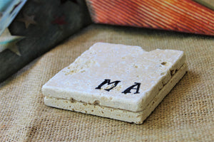 Personalized State Travertine Coasters