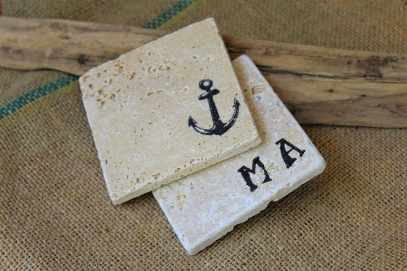 Anchor and Monogram Custom Travertine Drink Coasters