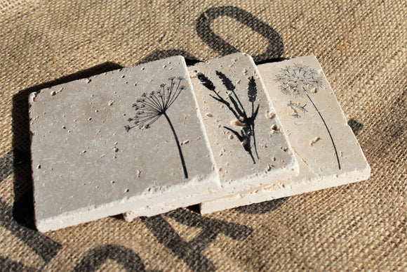 Summer Wildflower Travertine Drink Coasters
