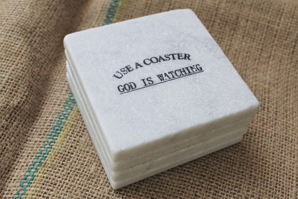 Use a Coaster God is Watching Marble Drink Coasters
