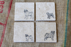 Pug Coasters, Dog Drink Coasters, Pug Gifts, Cute Pet Gifts, Pet Loss Gift