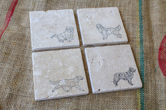 Golden Retriever Coasters, Dog Drink Coasters, Golden Retriever Gifts, Set of Four Coasters, Pet Loss Gift