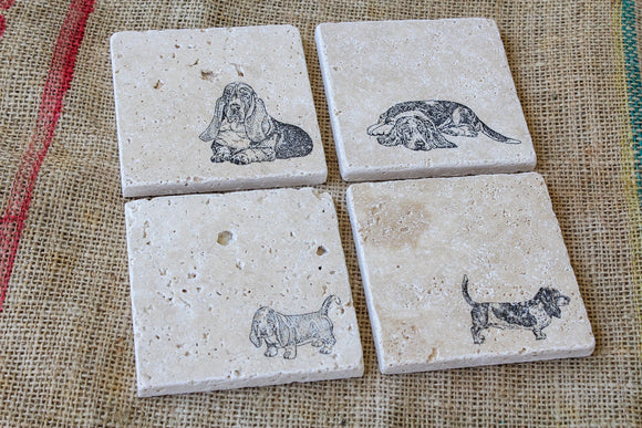 Basset Hound Drink Coasters - Set of Four Dog Stamped Coasters