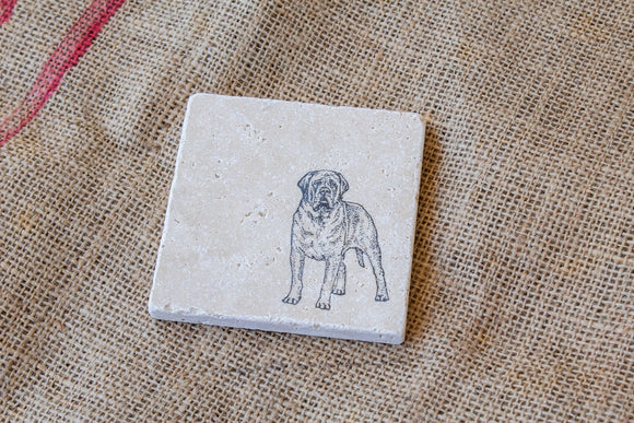 Mastiff Coasters - Set of Four, Dog Drink Coasters, Mastiff Gifts, Cute Pet Gifts, Pet Loss Gift