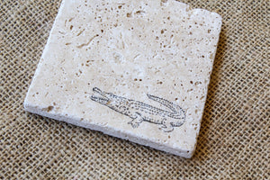 Alligator Drink Coasters -Set of Four Stamped Travertine Coasters