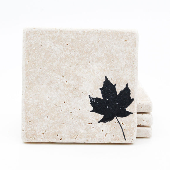 Leaf Travertine Drink Coasters