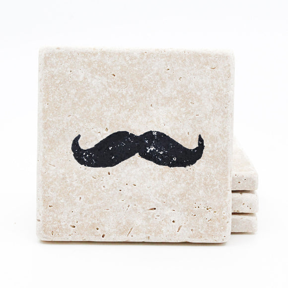 Mustache Travertine Drink Coasters