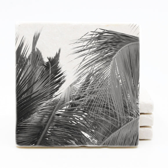 Palm Tree Marble Drink Coasters (Version 2)