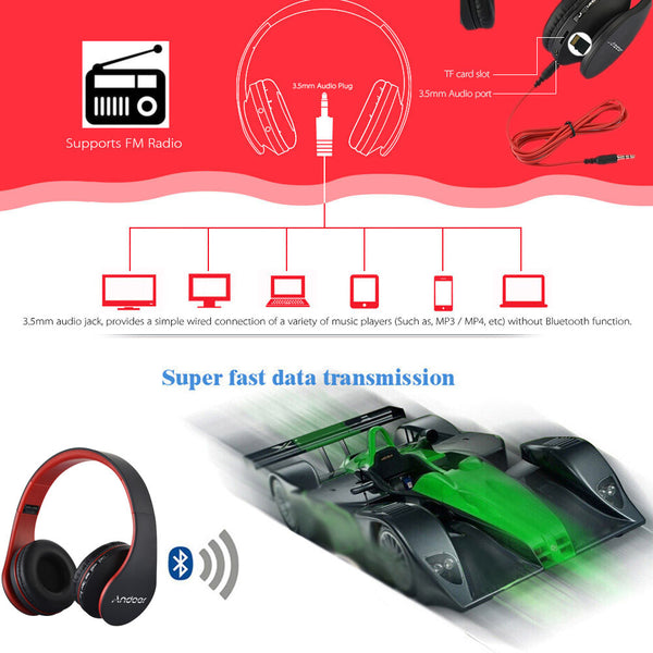 Stereo Wireless Bluetooth with Mic MicroSD/TF/FM Radio - Andoer LH-811