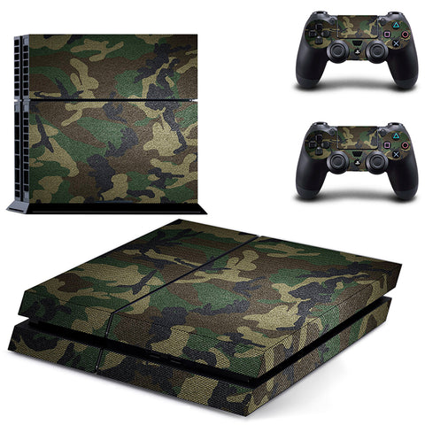 Classic PS4 Sticker Green Camouflage Vinyl Cover Decal PS4 Skin Sticker for Console and 2 Controllers