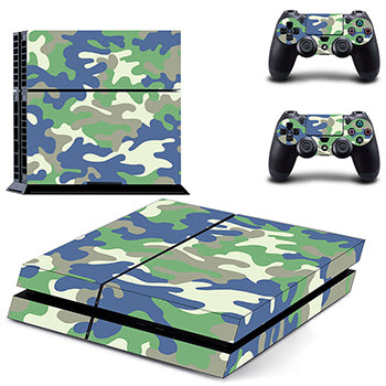 Classic PS4 Sticker Green Camouflage Vinyl Cover Decal PS4 Skin Sticker for Sony Play Station 4 Console and 2 Controller Skin