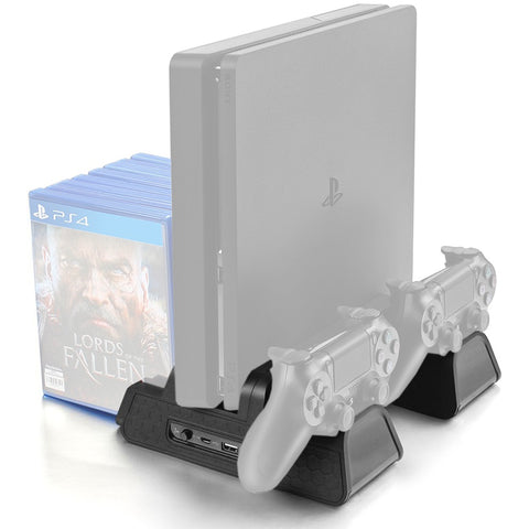 PS4/PS4 Slim Pro Console Cooling Fan Vertical Stand Charger and Game Disk Storage Stand