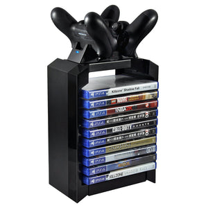 PS4 Black Vertical Game Disk Tower and Charging Dock