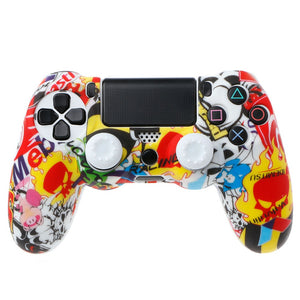 PS4 Sticker Bomb Anti-Slip Protector Case for PS4 Pro Slim Controller with 2 Thumb Grips - OCDAY