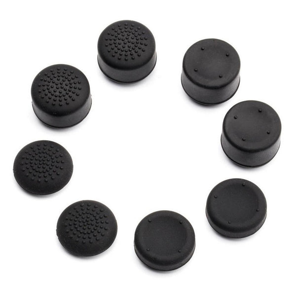 8Pcs Silicone Anti-Skid Thumb Grips for PS4 Controller - Black