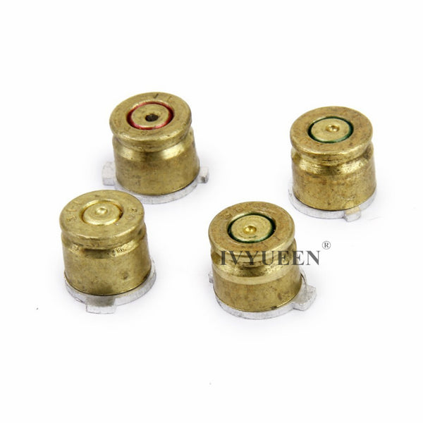 Brass Bullet Buttons Mod Kit for PS4/PS4 Pro Slim Controller, Thumb Caps and Action Buttons