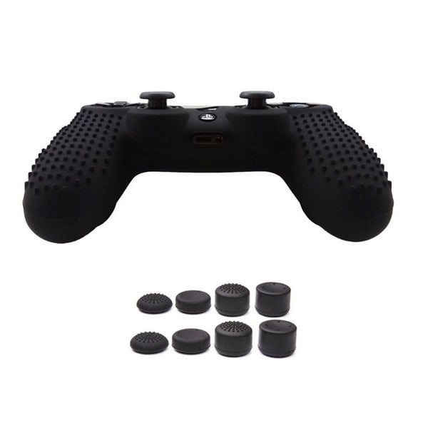 PS4 Anti-Slip Silicone Protector Case for PS4/PS4 Slim/PS4 Pro Controller with 8 Thumb Grips