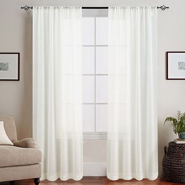NALA // Linen Textured Sheer Curtains Rod Pocket 2 Panel Pack