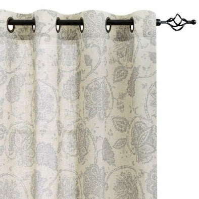 Floral Scroll  Linen Curtains Grommet Top  Design Living Room 2 Panels