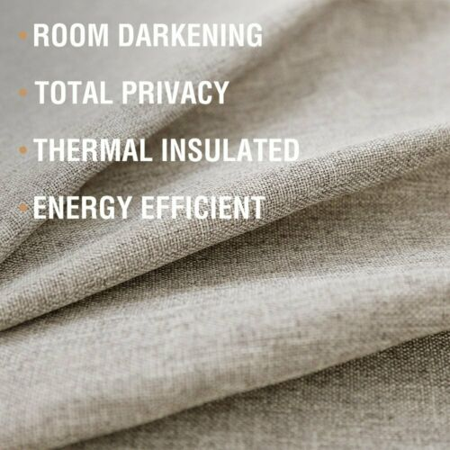 Faux Linen Blackout Curtain Bedroom Drapes Living Room Darkening 1 panel