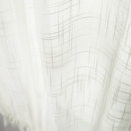 Linen Textured French Door Curtains Privacy Open Weave Sheer French Door 1 Plane