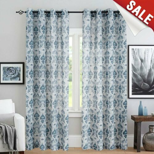 Damask Print Curtains Multicolor Medallion Flax Curtain for Bedroom 2 Panels