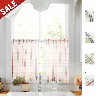 Jinchan//Tier Curtains for Kitchen Sheer Curtains Classic Buffalo Checkered Gingham Linen